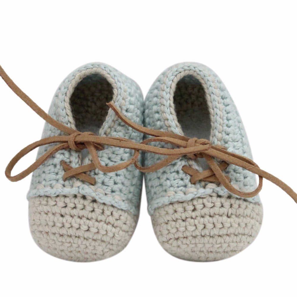 Hand Crochet Leather Laced Baby Shoes(Pale Blue)