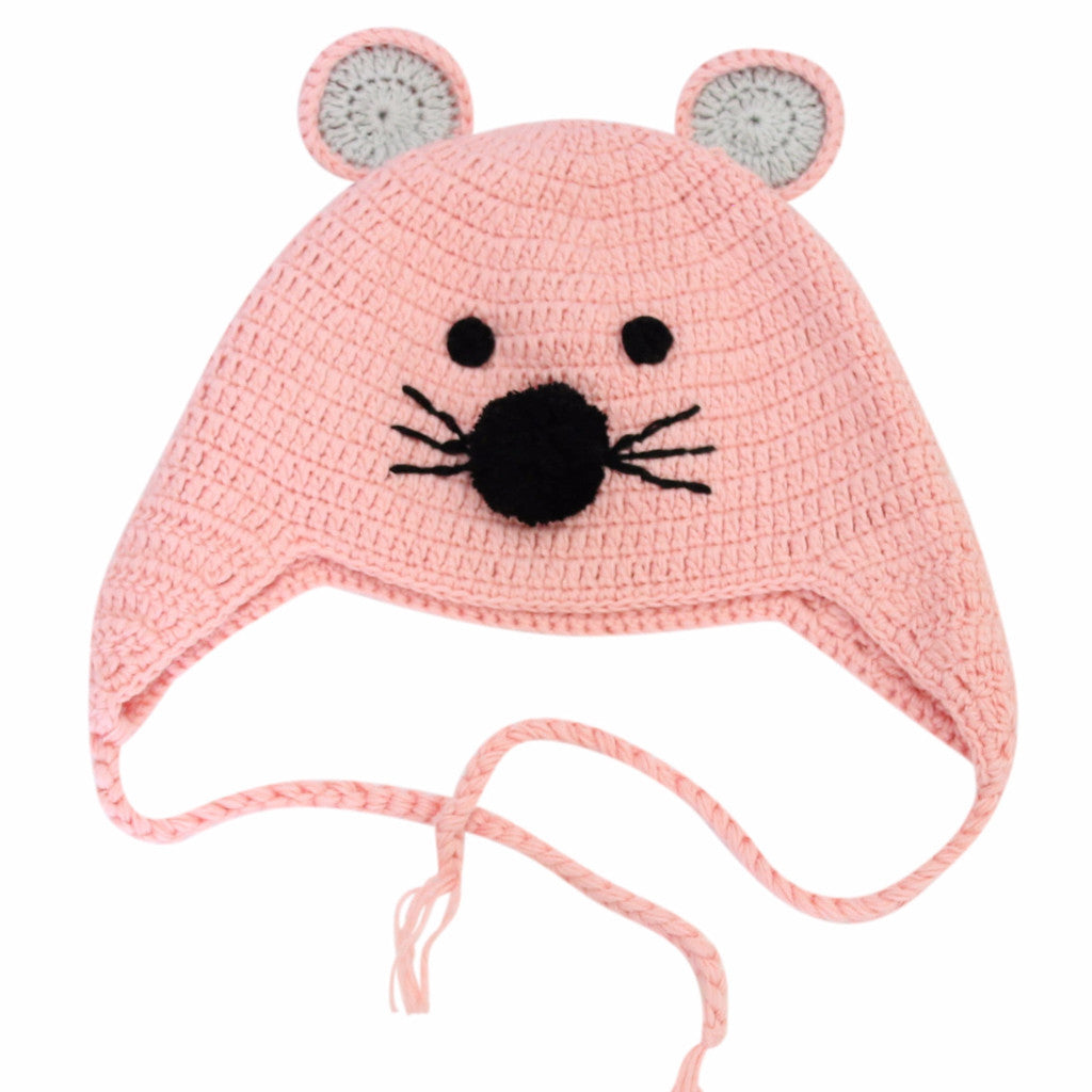 Hand Crochet Mouse Hat Pink