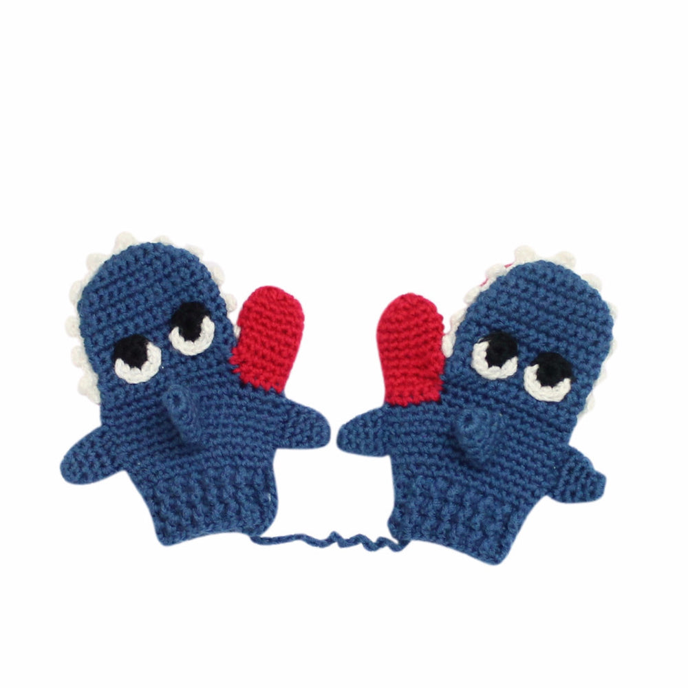 Load image into Gallery viewer, Hand Crochet Children's Shark Mittens