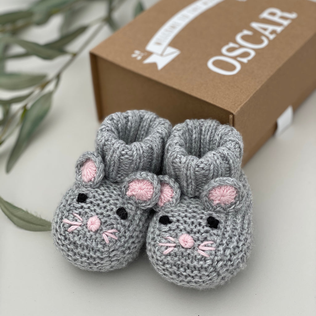 Baby Cashmere Mouse Booties