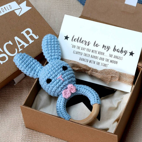 Hand Crochet Light Blue Bunny Rattle Teether