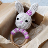 Hand Crochet Pink Stripe Bunny Rattle Teether