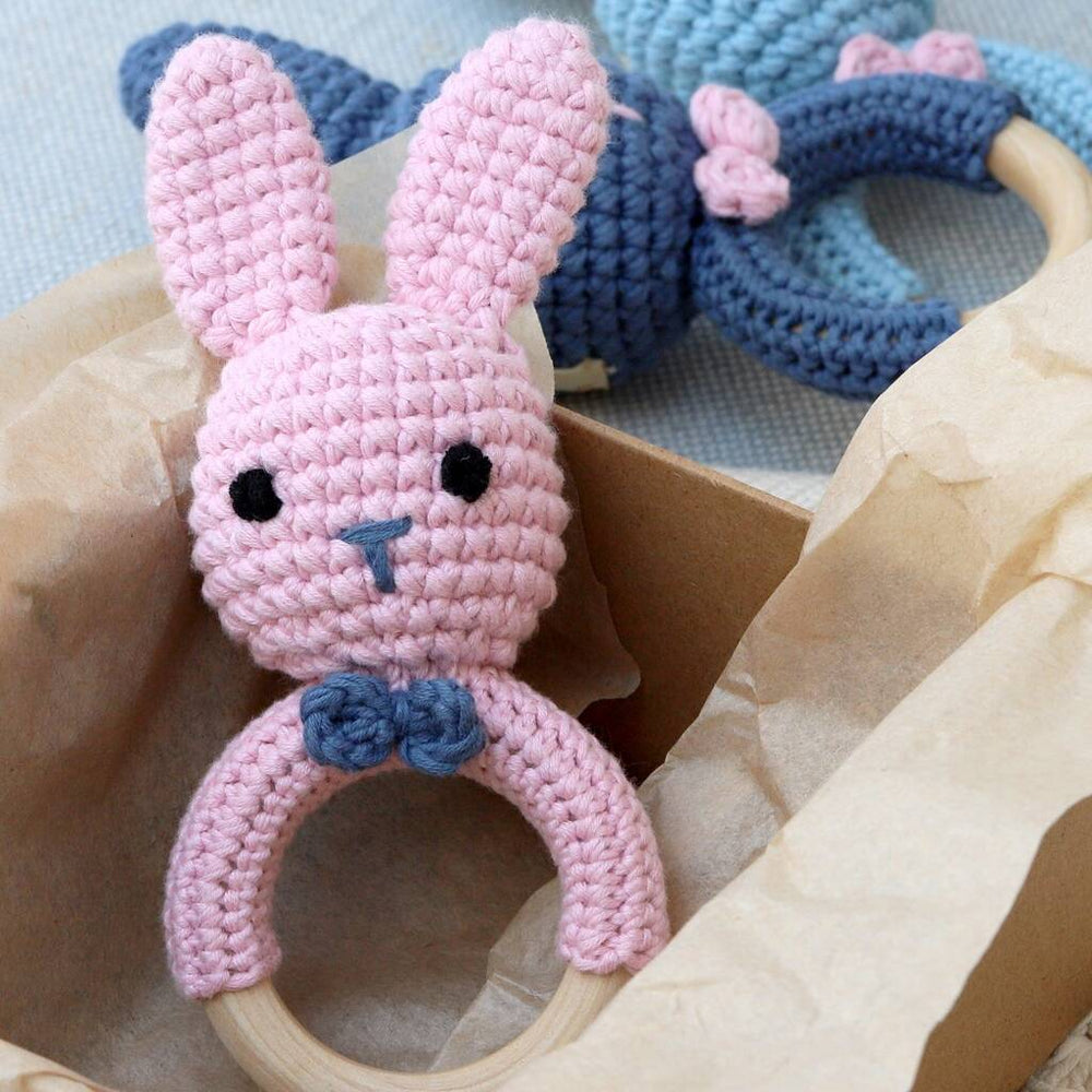 Hand Crochet Rosie Pink Bunny Rattle Teether