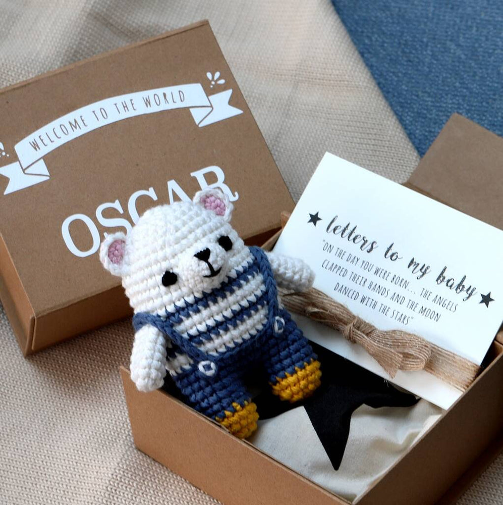 Load image into Gallery viewer, Personalised Baby Keepsake Box With Polar Bear Toy