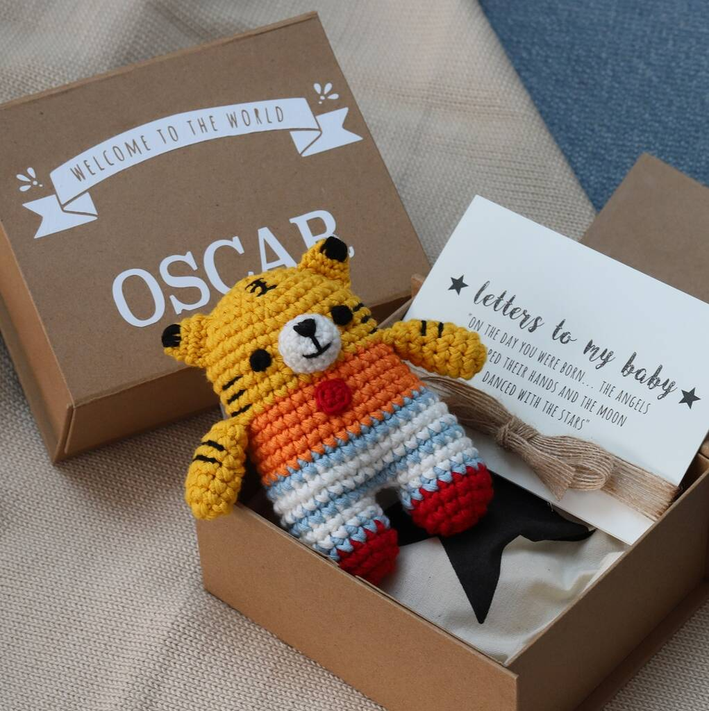 Personalised Baby Keepsake Box With Tiger Toy