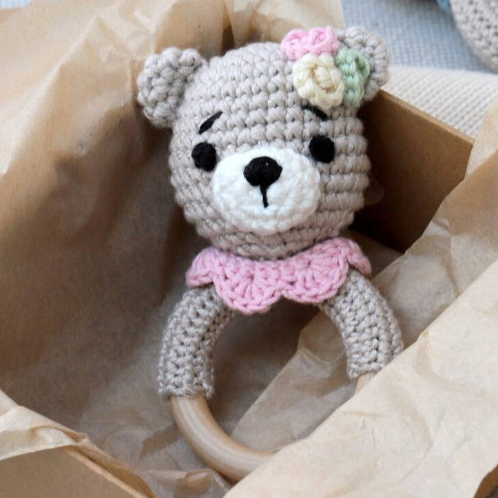 Hand Crochet Pink Teddy Rattle