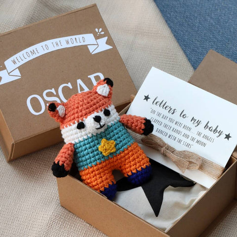 Personalised Baby Keepsake Box With Pocket Animal Toy