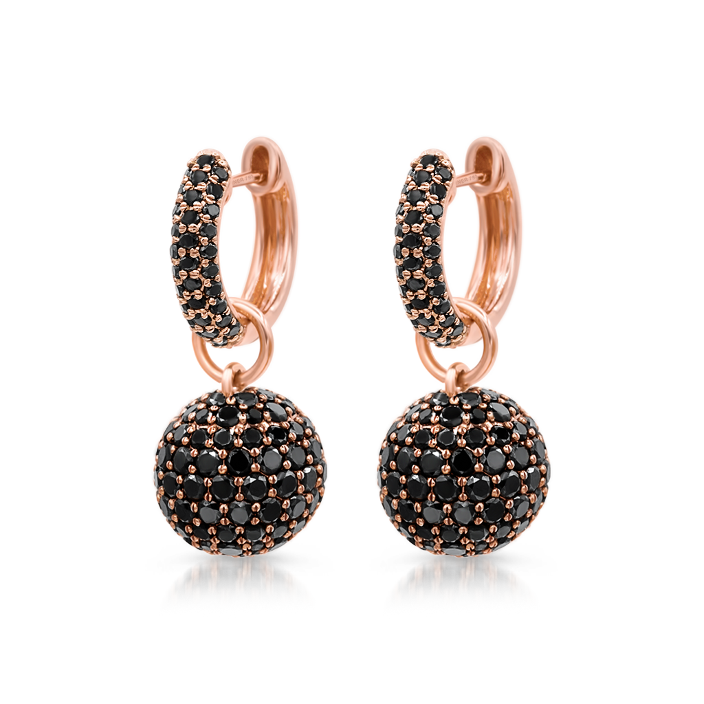 Baby Hoop Earrings with Black Diamonds Spheres -  Pinner