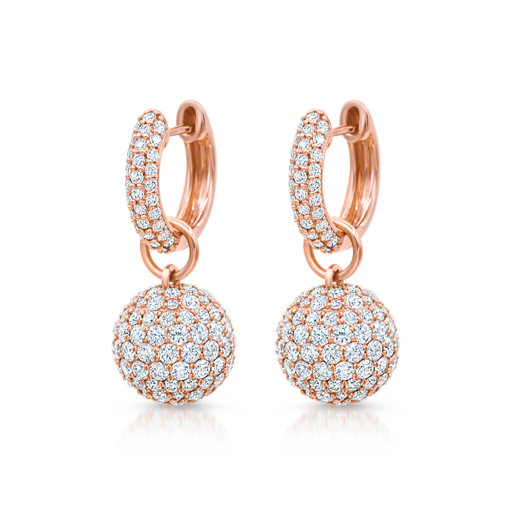 Baby Hoop Earrings with Diamond Spheres -  Pinner