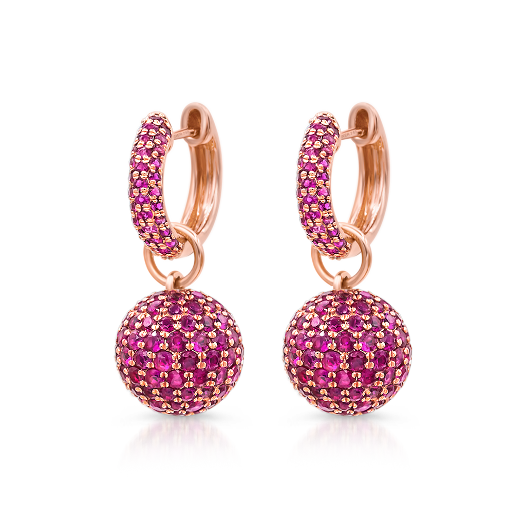 Baby Hoop Earrings with Ruby Spheres -  Pinner