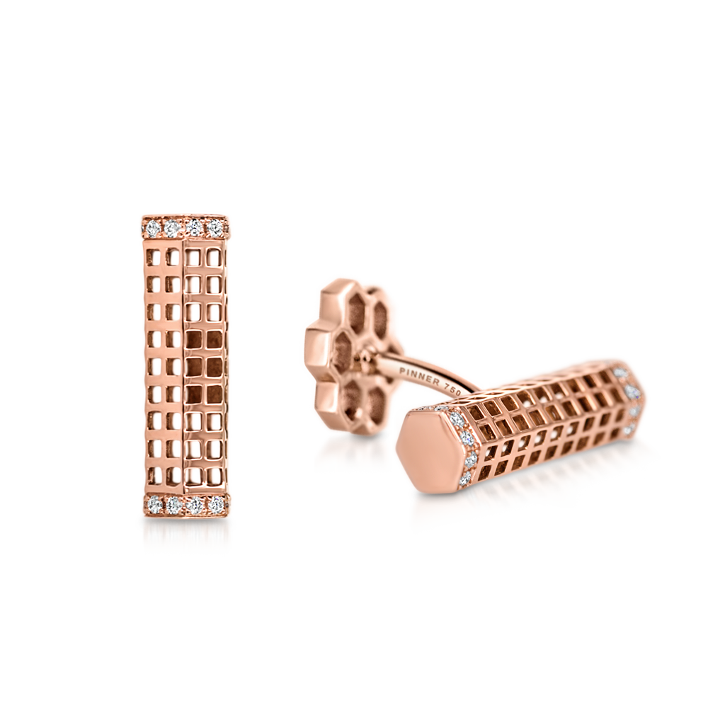 Barrel Cufflinks with Diamonds -  Pinner