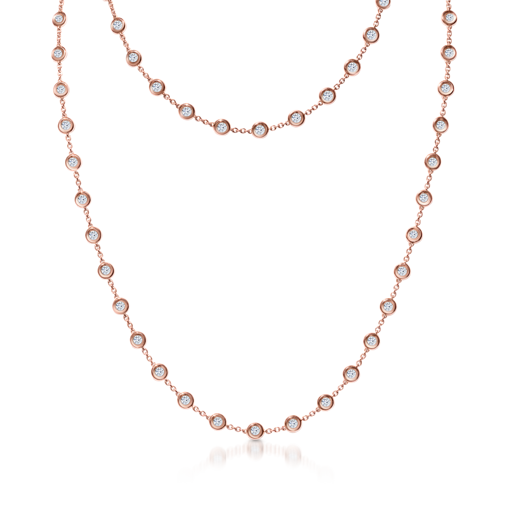 By The Yard Necklace with Diamonds -  Pinner