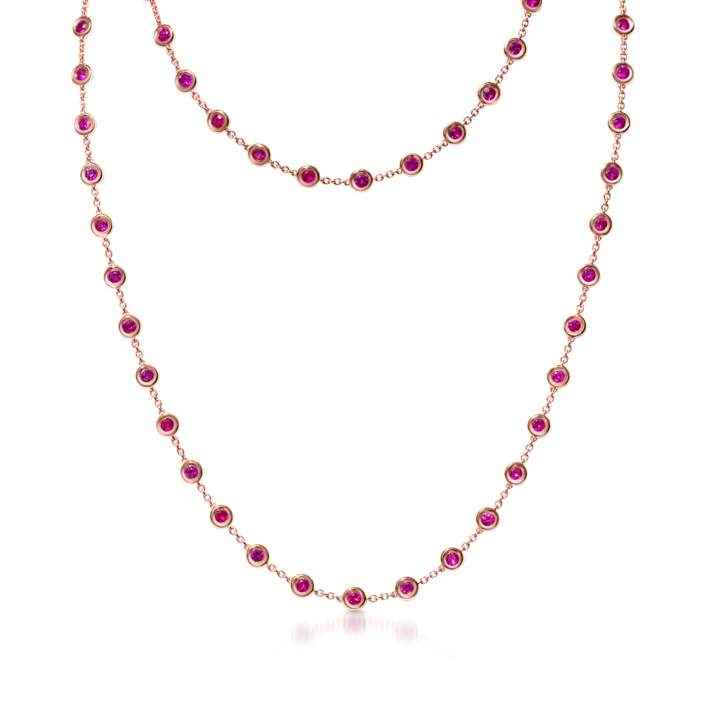By The Yard Necklace with Rubies -  Pinner