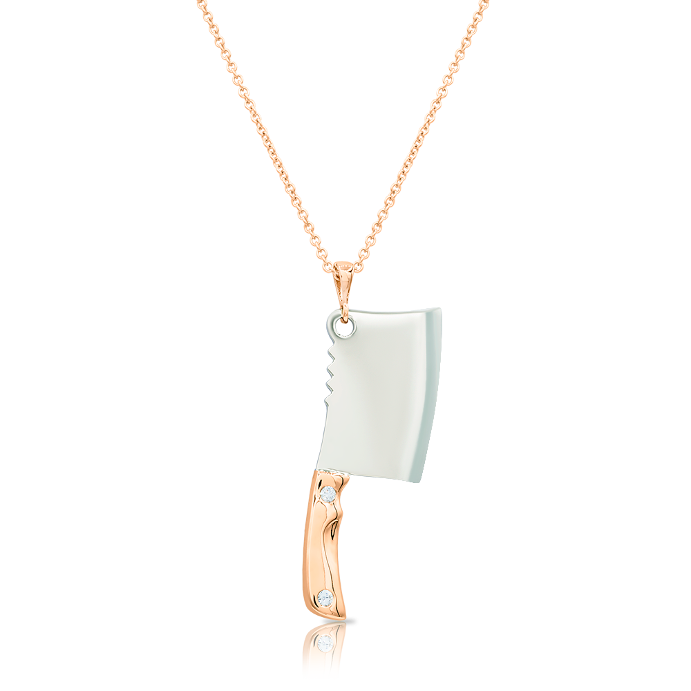 Cleaver Pendant with Diamond Rivets