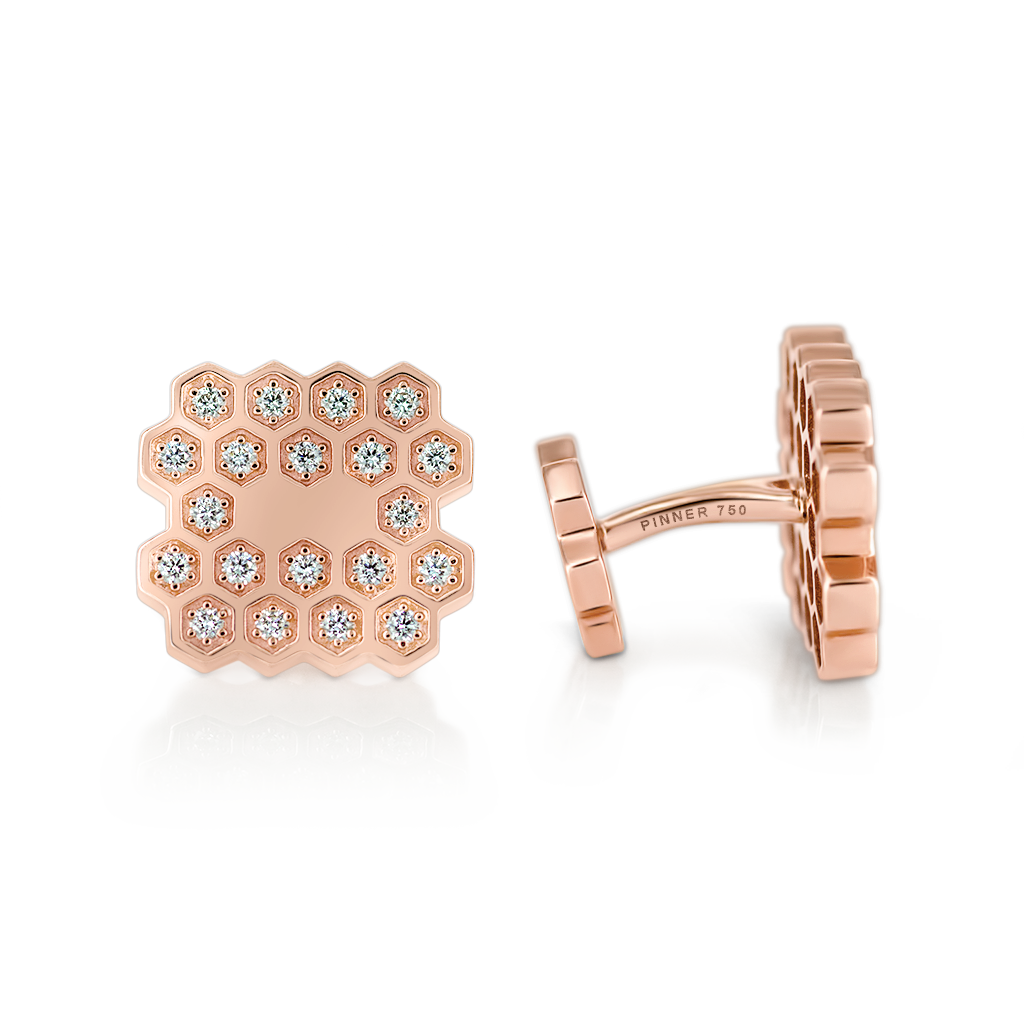 Honeycomb Cufflinks with Diamonds