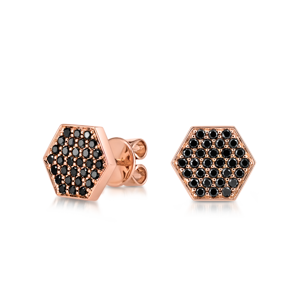 Sen Studs with Black Diamonds -  Pinner