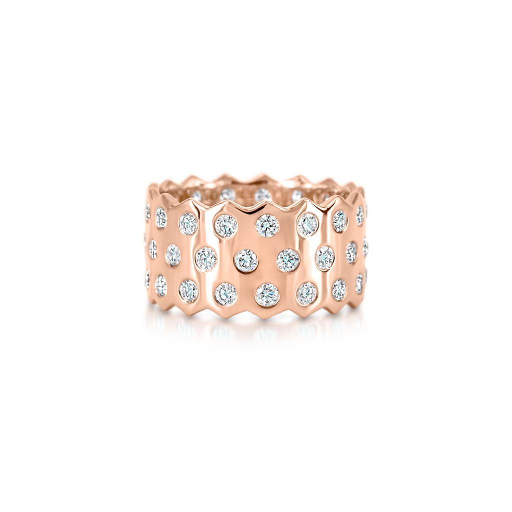 Honeycomb Triple Row Ring with Diamonds -  Pinner