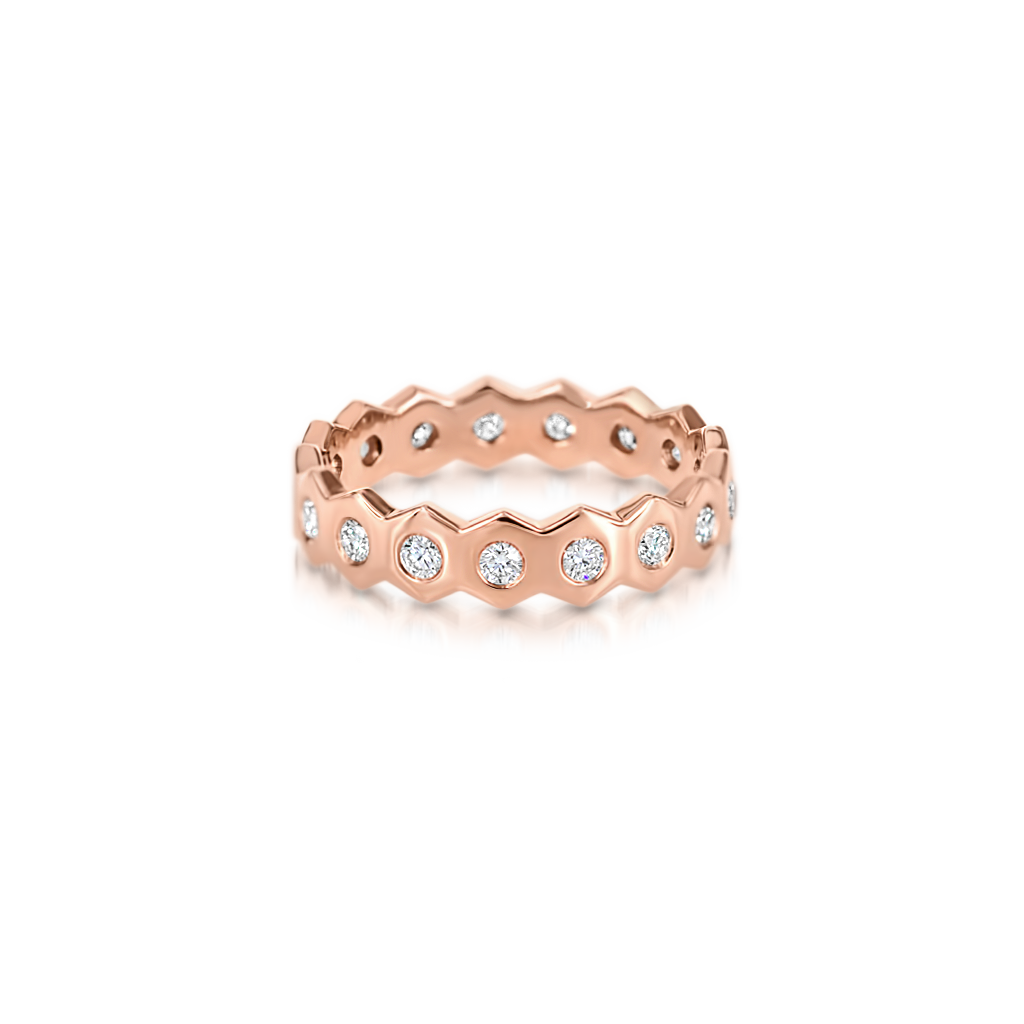 Honeycomb Ring with Diamonds