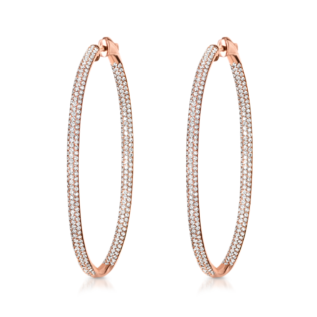 Large Oval Hoops with Diamonds -  Pinner