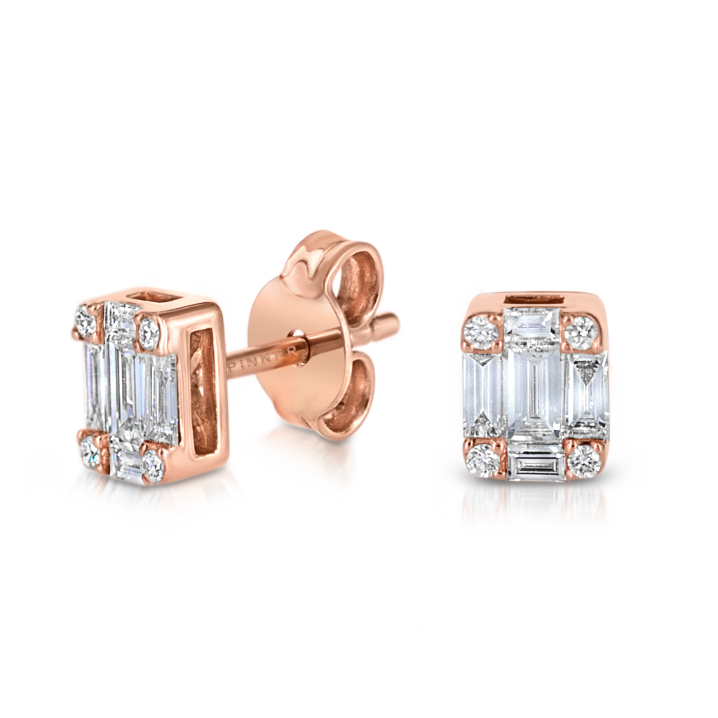 Mosaic Stud Earrings with Diamonds -  Pinner