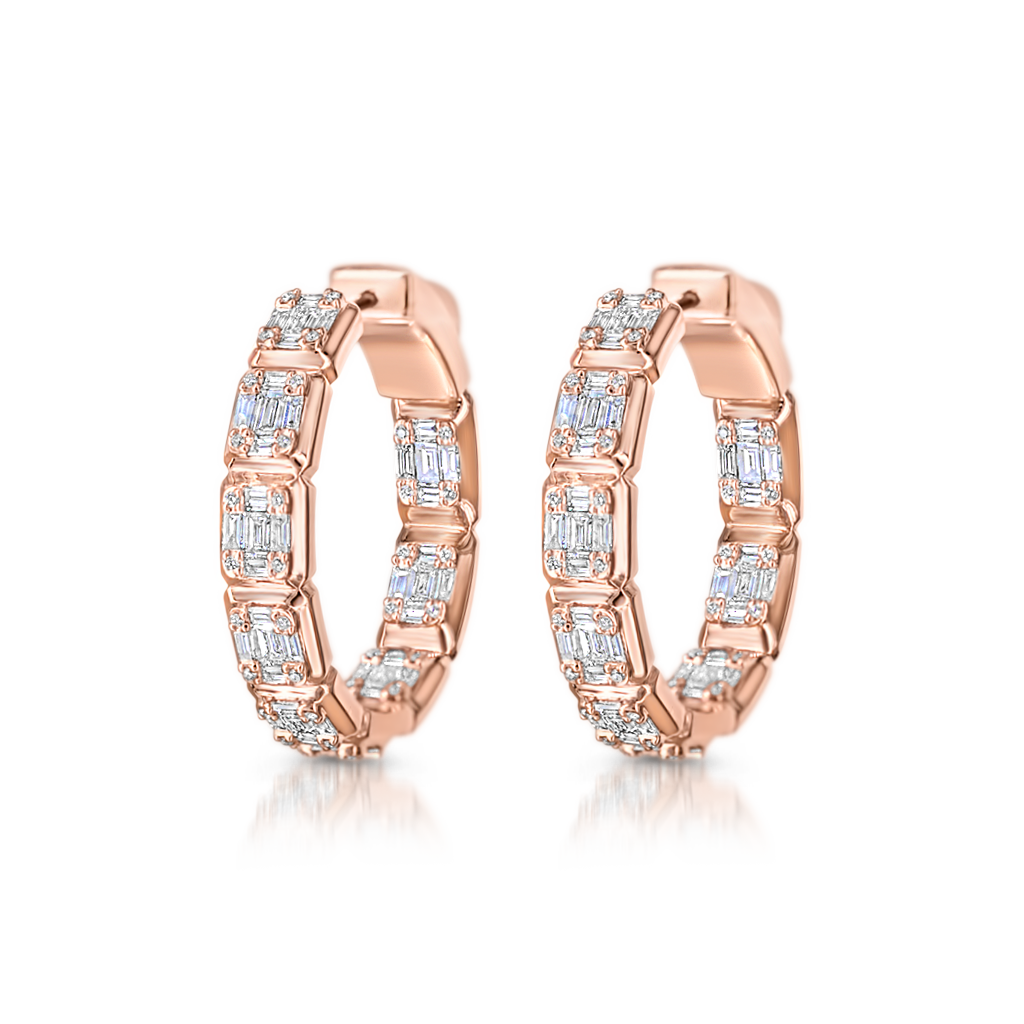 Mosaic Hoop Earrings with Diamonds
