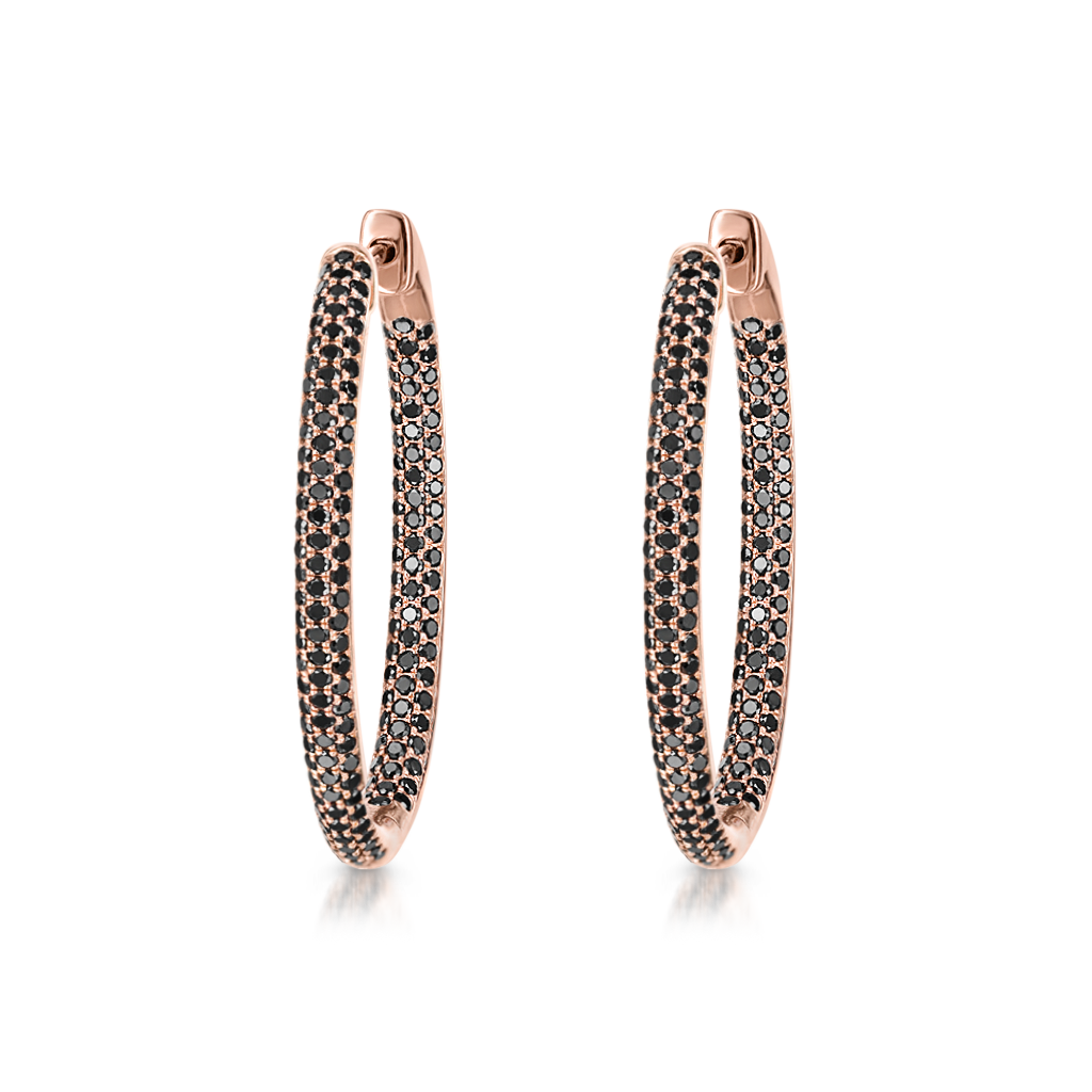 Oval Hoops with Black Diamonds -  Pinner