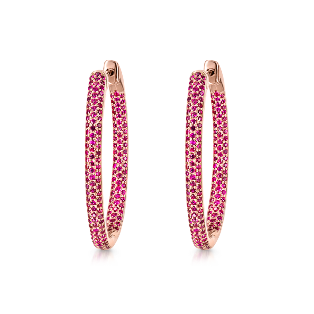 Oval Hoops with Rubies