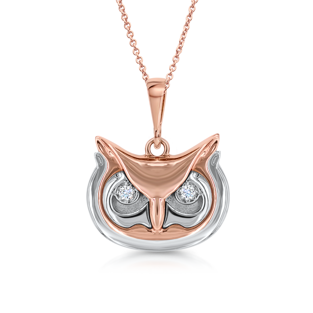 Owl Pendant With Diamond Eyes -  Pinner