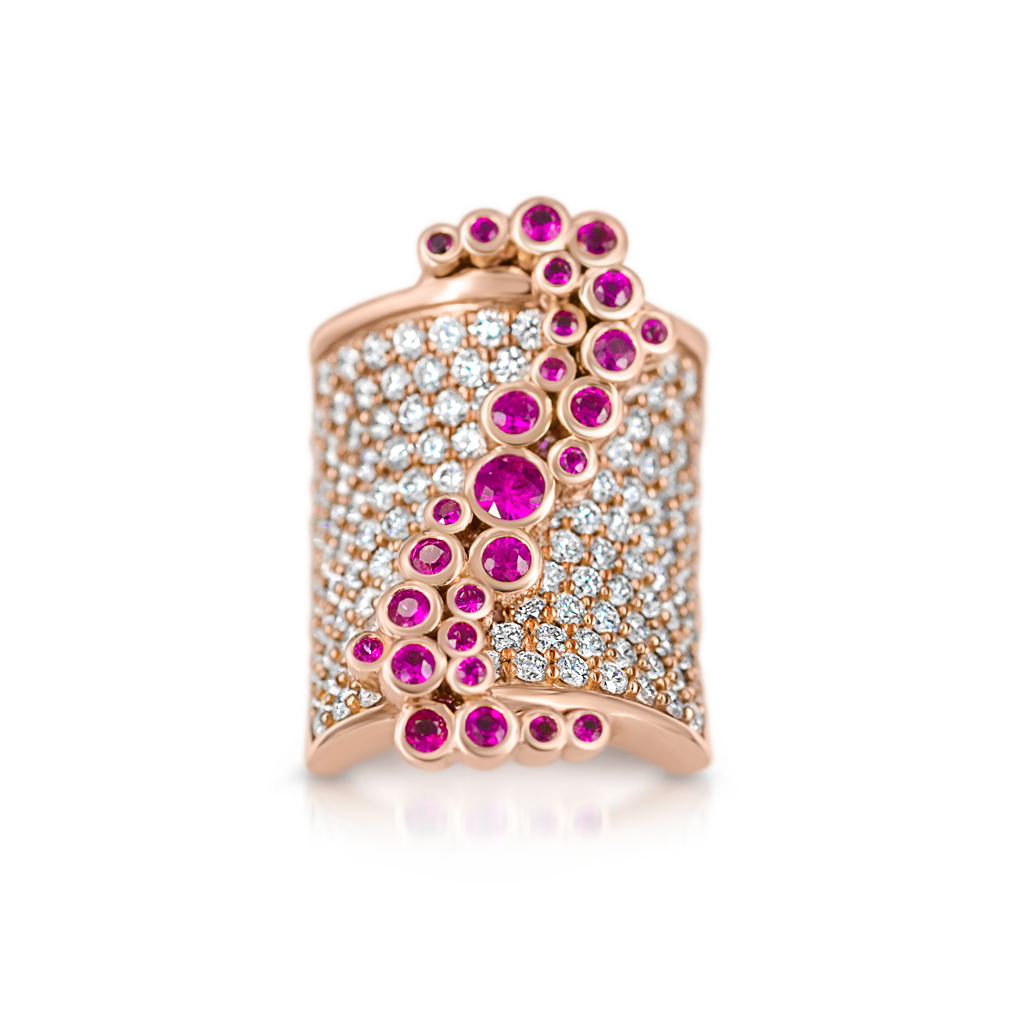 Saddle Ring with Diamonds and Rubies -  Pinner