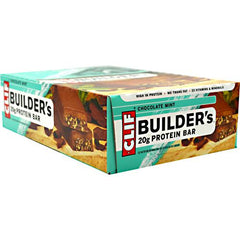 Clif Builders Cocoa Dipped Double Decker Crisp Bar - Chocolate Mint - 12 Bars - 722252600448