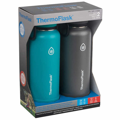 Thermoflask Stainless Steel 40 oz Water Bottle, 2-piece Set