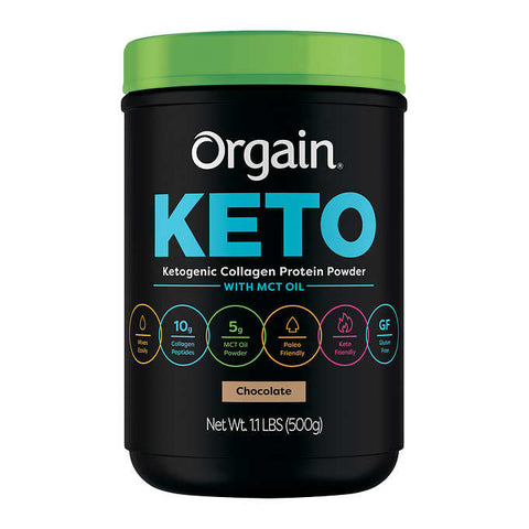 Orgain Keto Collagen Protein Chocolate, 1.1 lbs