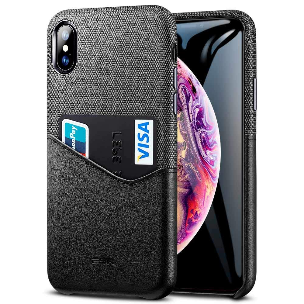 ESR iPhone Xs Max Case, ESR Metro Wallet Case, Soft Fabric + Premium PU Leather Case with ID and Card Holder Slot Compatible with 6.5 inch iPhone Xs Max (Released in 2018) - Charcoal/Black