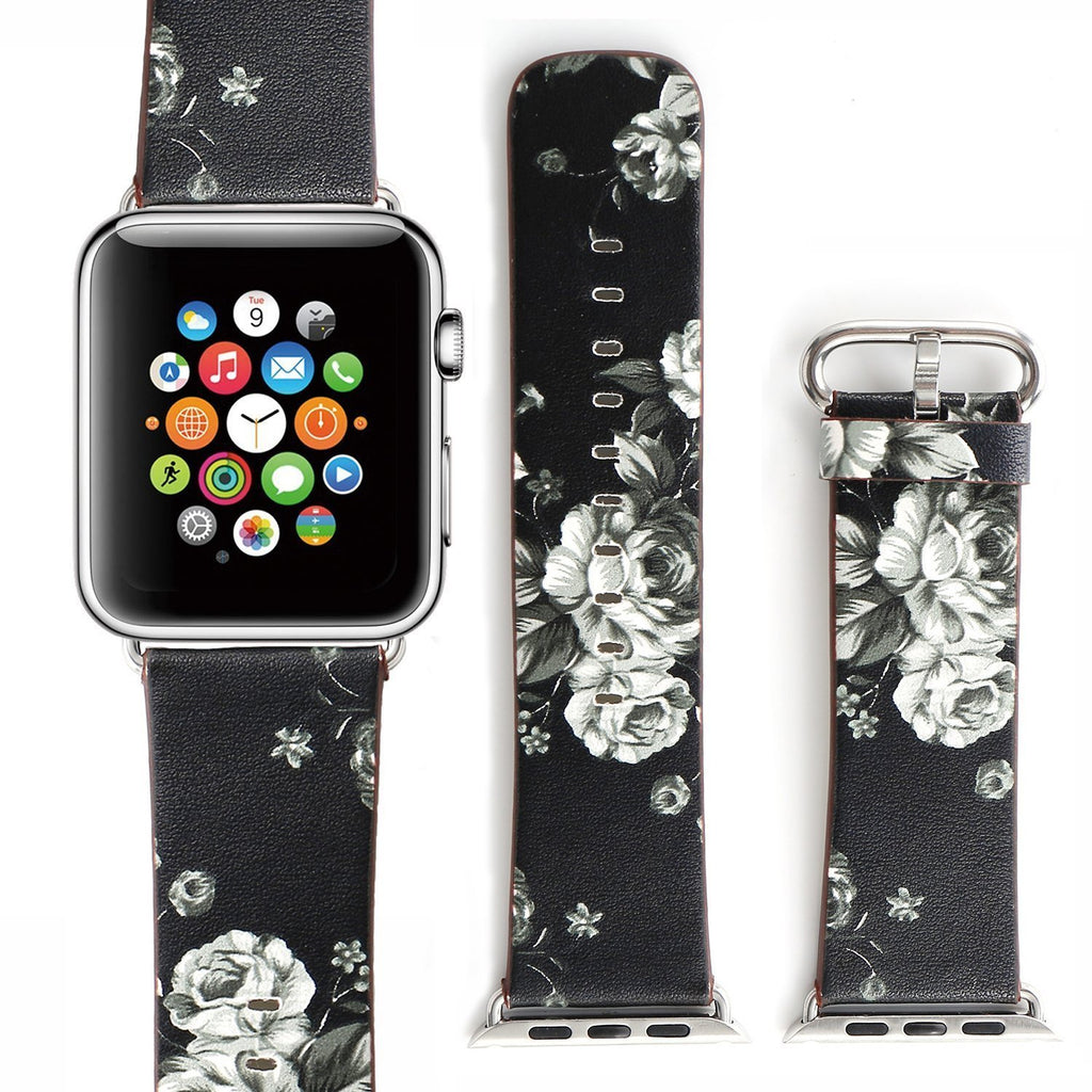 Soft Leather Replacement  Band with Flower Design and Metal Clasp for Apple Watch Series 1,2