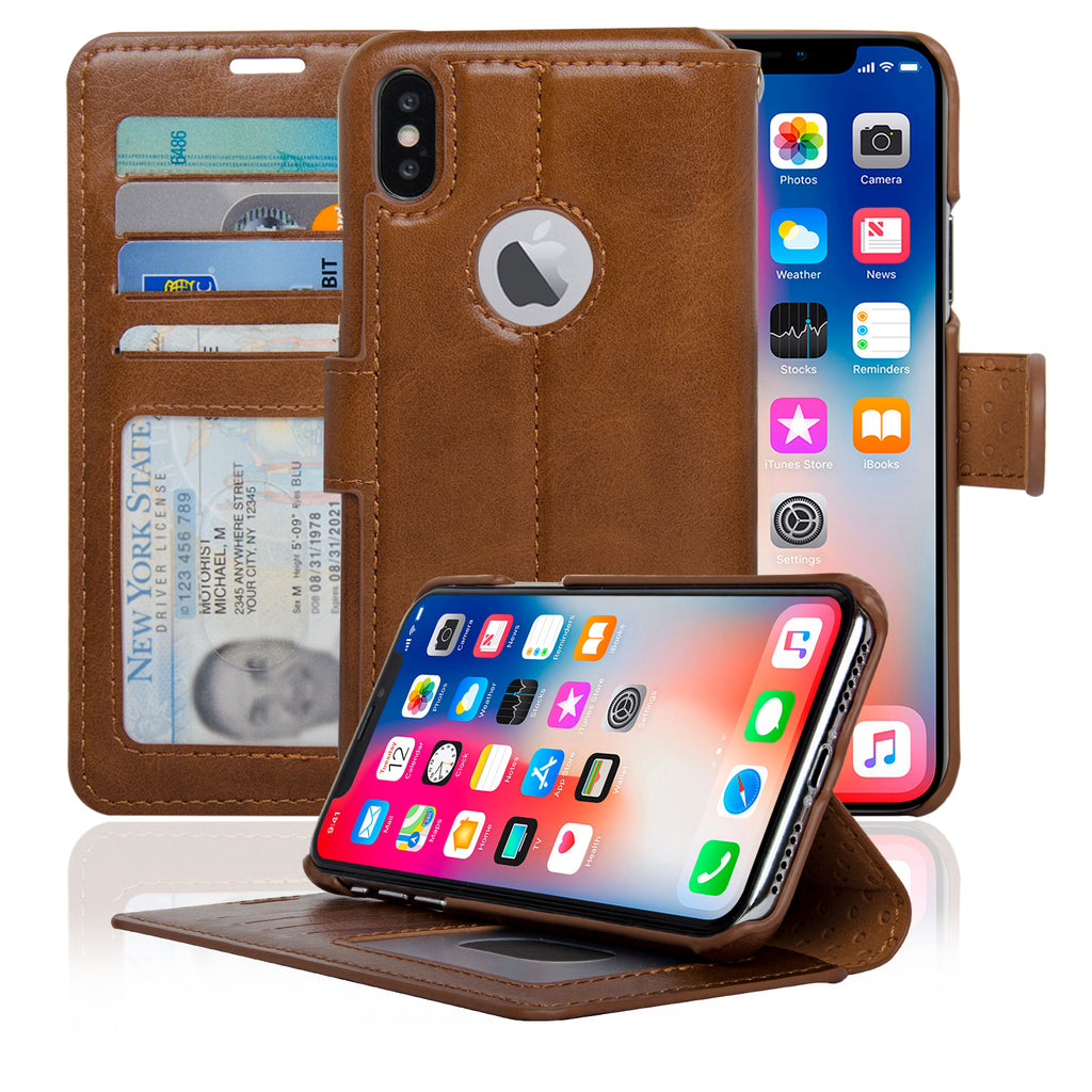 NAVOR Slim Wallet Case Protective Flip Cover for iPhone X / 10 (5.8) [ IPX-ZSK ]
