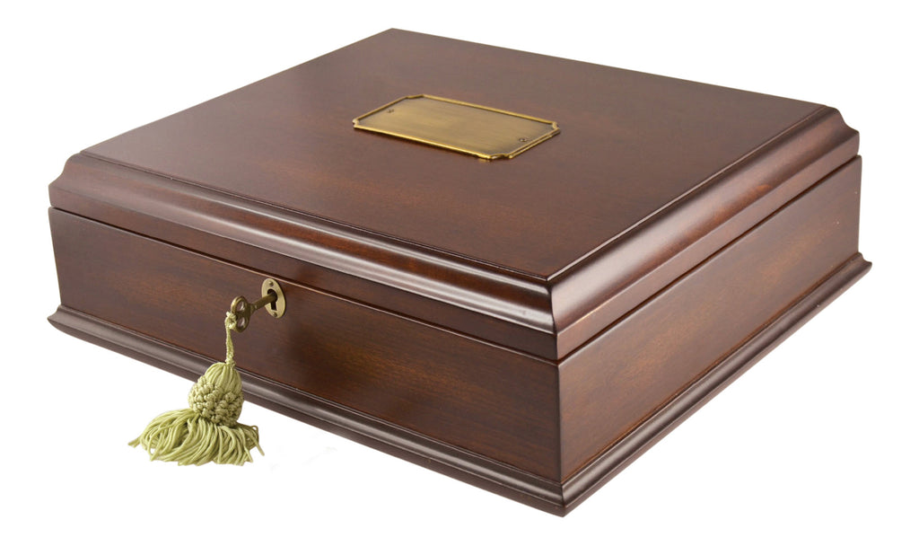 Large Antico Wood Memory Box Organizer in Mahogany Wood Finish With Lock &Key