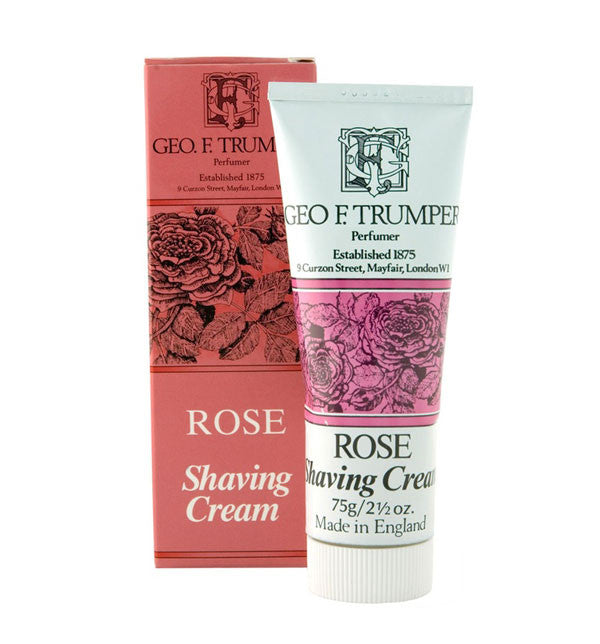 Geo F Trumper Rose Shaving Cream, Stand Up Tube, 75 grams