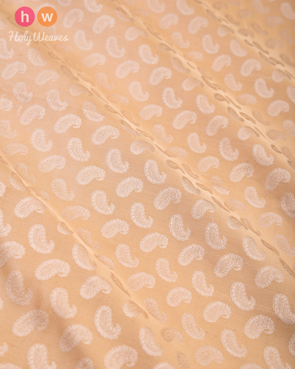 Beige Handwoven Silk Tanchoi Fabric- HolyWeaves