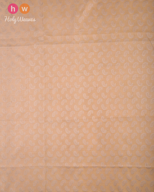 Beige Handwoven Silk Tanchoi Fabric - HolyWeaves