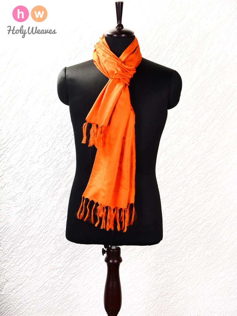 "Orange Banarasi Tanchoi Handwoven Silk Scarf 72""x21"""