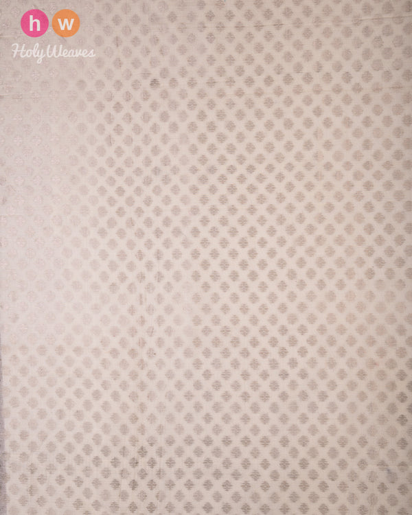 Cream Cutwork Brocade Handwoven Cotton Silk Fabric - HolyWeaves