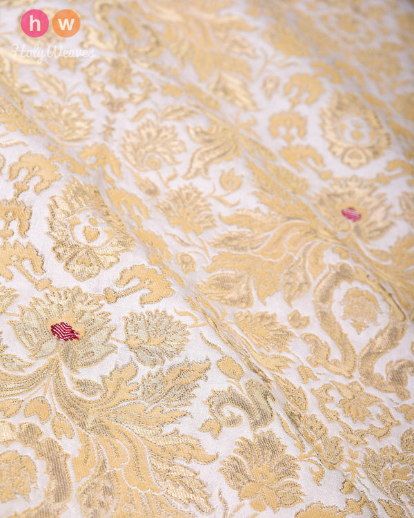 Cream Kimkhwab Brocade Handwoven Viscose Silk Fabric - HolyWeaves