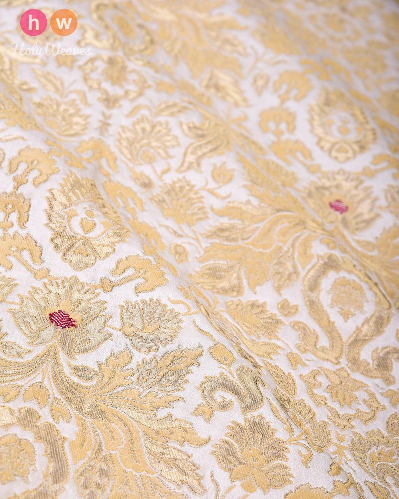 Cream Kimkhwab Brocade Handwoven Viscose Silk Fabric- HolyWeaves