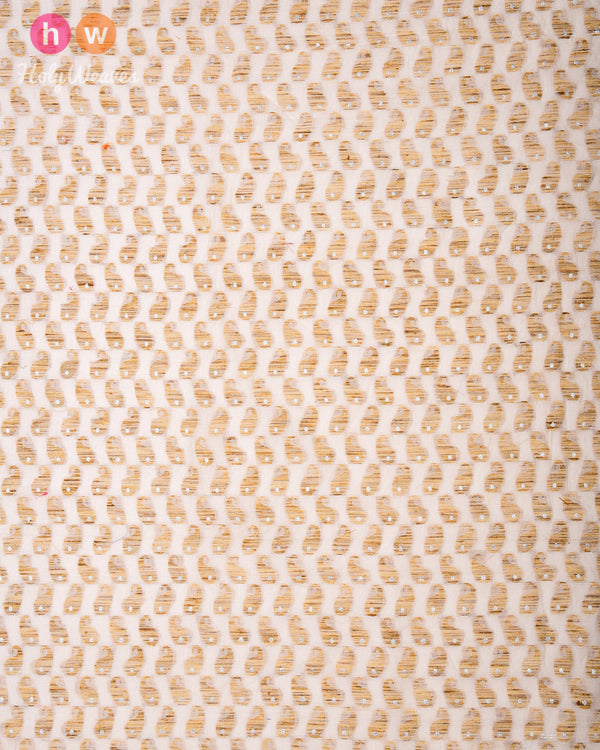 Cream Cutwork Brocade Handwoven Cotton Silk Fabric- HolyWeaves
