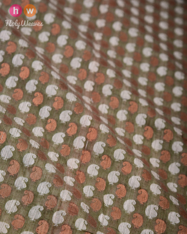 Green Cutwork Brocade Handwoven Cotton Silk Fabric- HolyWeaves