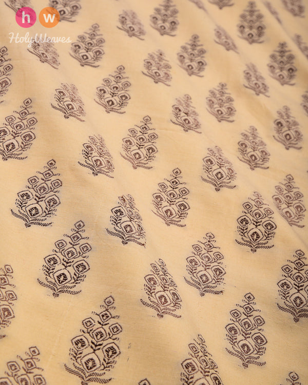 Beige Cutwork Brocade Handwoven Cotton Silk Fabric- HolyWeaves