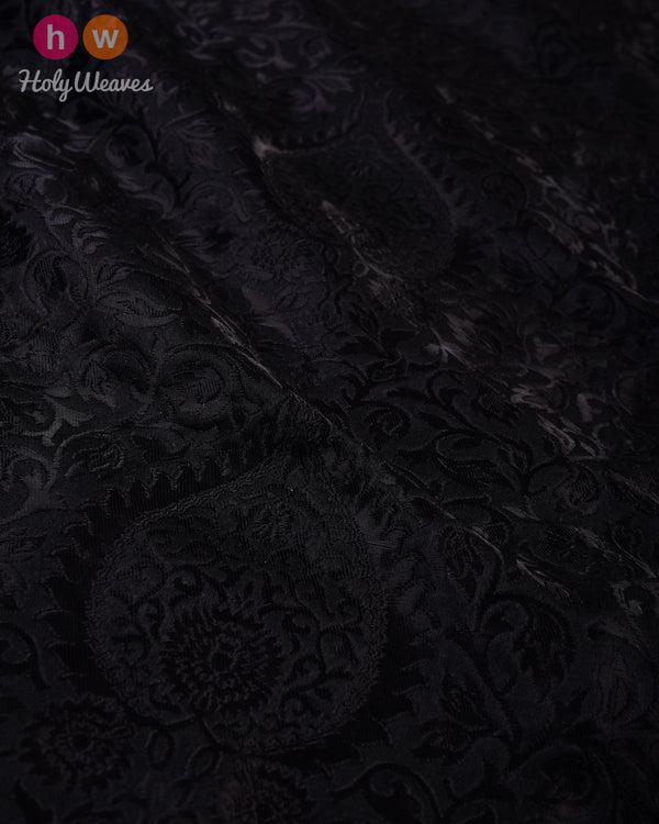 Black Kimkhwab Brocade Handwoven Viscose Silk Fabric- HolyWeaves