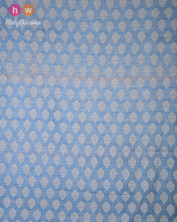 Blue Cutwork Brocade Handwoven Cotton Silk Fabric- HolyWeaves