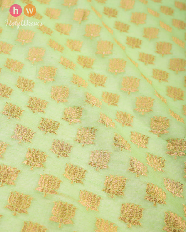 Green Cutwork Brocade Handwoven Cotton Silk Fabric - HolyWeaves