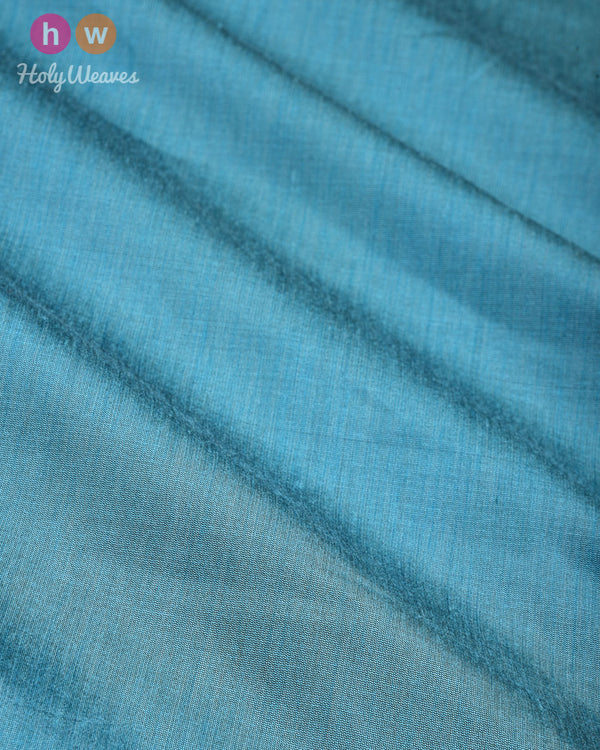 Cadet Blue Plain Art Cotton Silk Fabric for Pyjama, Chudidar, Furnishings etc - HolyWeaves